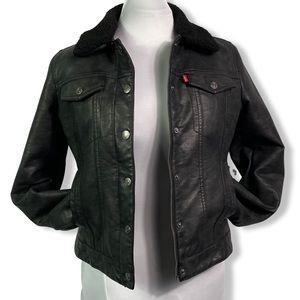 Levi's Trucker Jacket, Faux Leather, Sherpa Lining